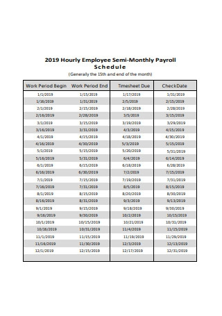 Hourly Employee Semi Monthly Payroll Schedule