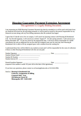 Housing Guarantee Payment Extension Agreement
