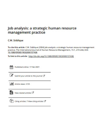 Human Resource Job Analysis