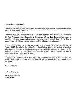 In Term Vacation Request Letter