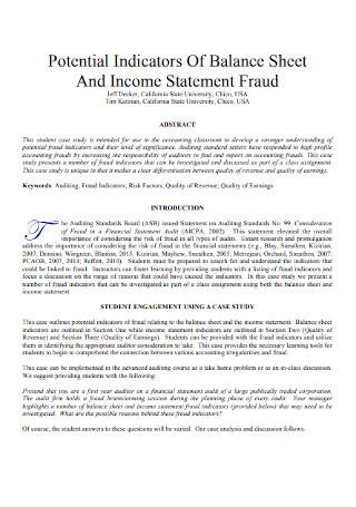Income Statement Fraud Indicators