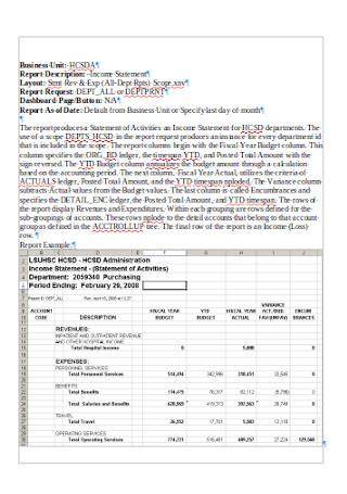 Income Statement Report