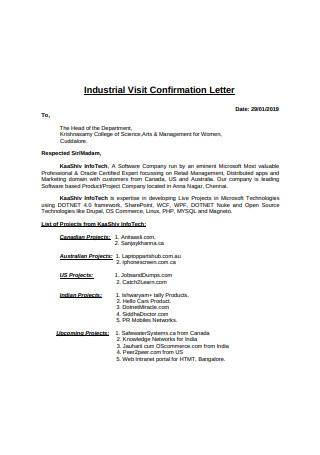 Industrial Visit Confirmation Letter