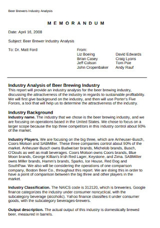 Industry Analysis Memorandum