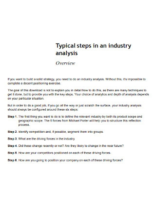 Industry Analysis Typical steps
