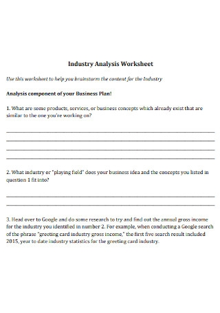 Industry Analysis Worksheet