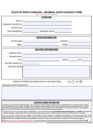 Informal Quote Request Form