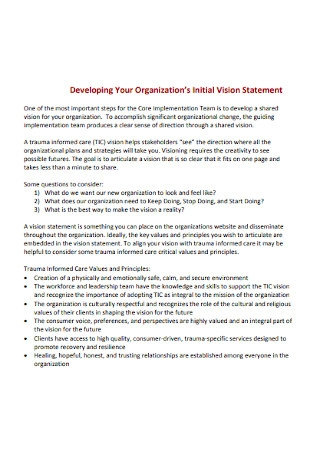 Initial Vision Statement