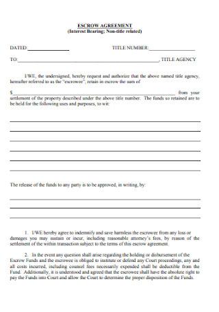 Interest Bearing Escrow Agreement