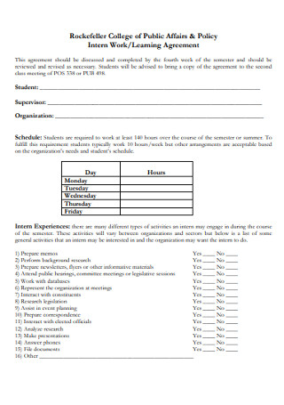 Intern Work Learning Agreement