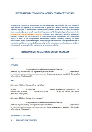 International Commercial Agency Contract