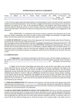 International Service Agreement