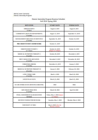 Internship Program Rotation Schedule