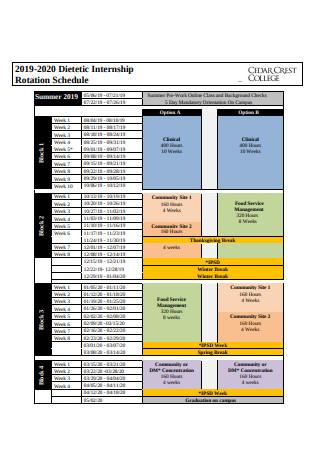Internship Rotation Schedule