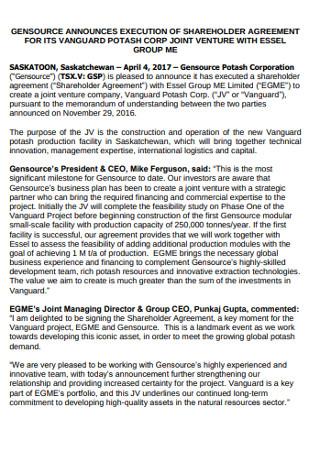 Jiont Venture Shareholder Agreement