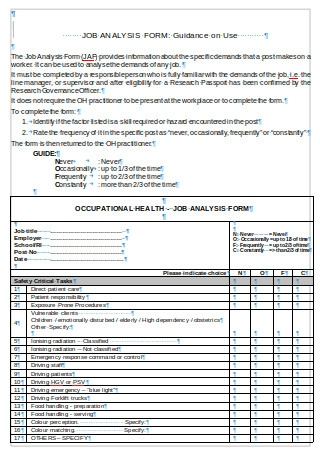 Job Analysis Form Example