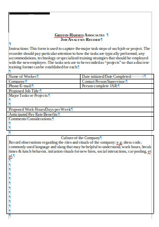 Job Analysis Record