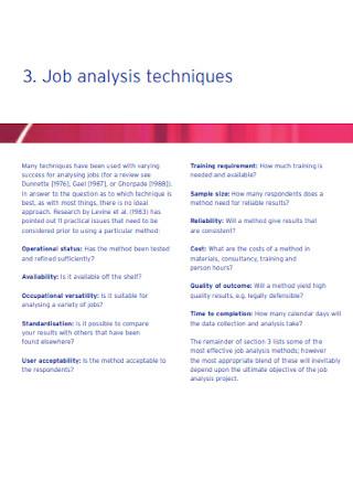 Job Analysis Techniques