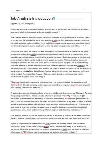 Job Analysis Types