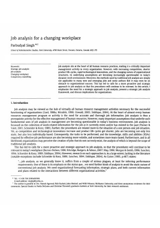 Job Analysis of Changing Workplace