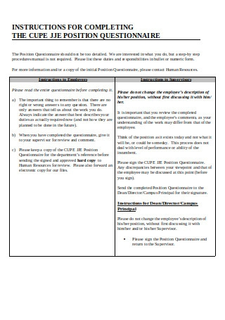 Job Evaluation Questionnaire Template