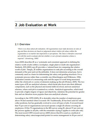 Job Evaluation in the 21st Century