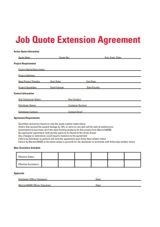 Job Quote Extension Agreement