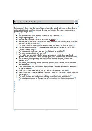 Job Safety Analysis