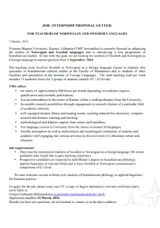 Job or Internship Proposal Letter