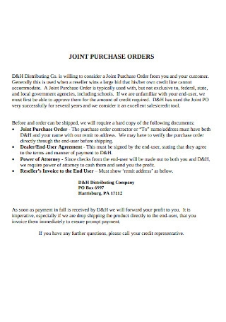Joint Purchase Order