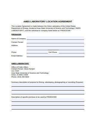 Laboratory Location Agreement
