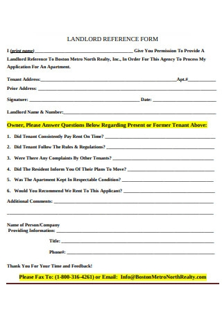 Landlord Reference Form Example