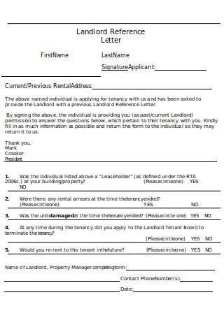 Landlord Reference Letter Format