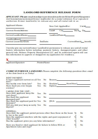 Landlord Reference Release Form