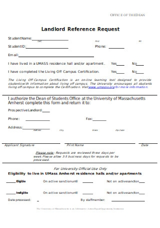Landlord Reference Request Form