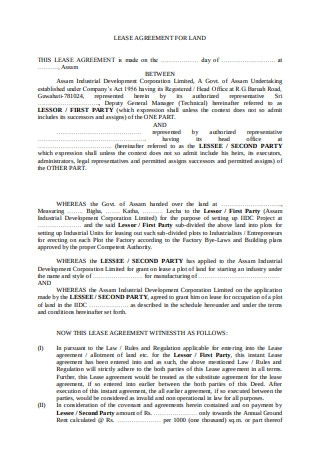 Lease Agreement for Land