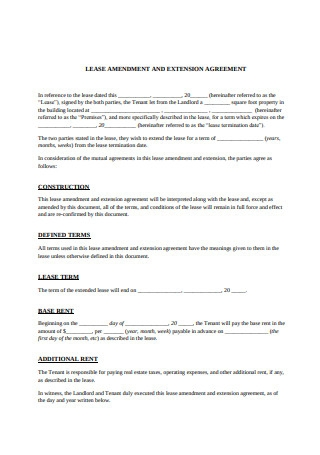Lease Amendment and Extension Agreement