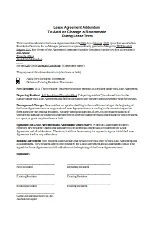Lease Contract Addendum