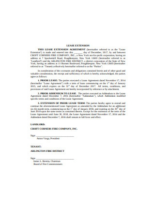 Lease Extension Agreement Format
