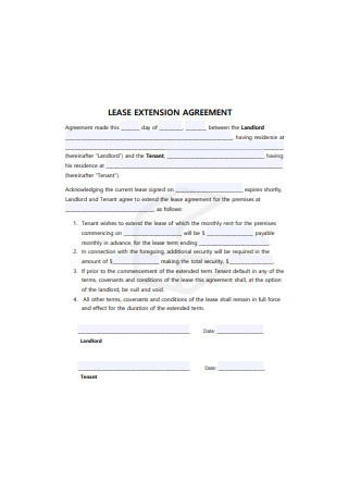 Lease Extension Agreement Sample