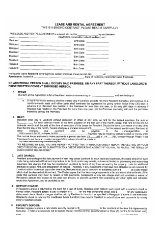 Lease and Rental Agreement
