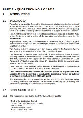 Legislative Council Request for Quote
