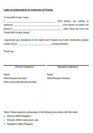 Letter of Authorization for Collection of Prize