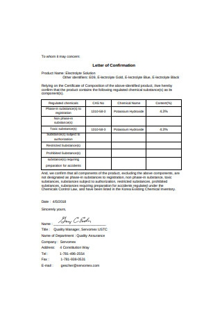 Letter of Confirmation