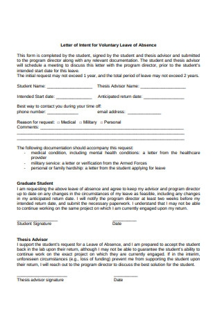 Letter of Intent for Voluntary Leave