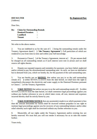 Letter of Outstanding Rent Due