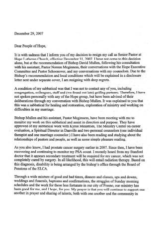 Letter of Resignation from Pastor