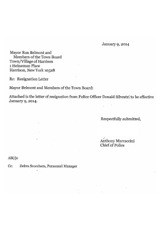 Letter of Resignation from Police
