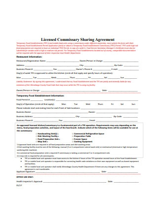 Licensed Commissary Sharing Agreement