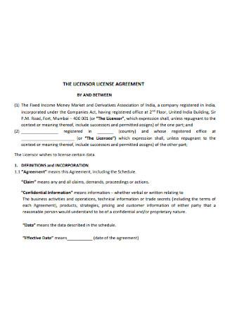 Licensor License Agreement